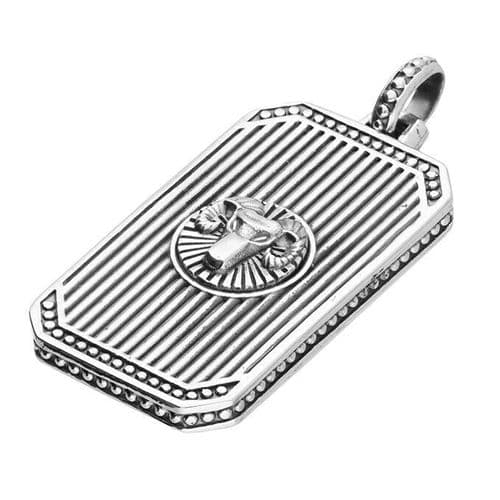 Men's Aries Zodiac Dog Tag Pendant Necklace Gents Sterling Silver Pendant